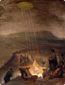 Flemish artist Aert De Gelder The Baptism of Christ (1710) depicts Jesus and John the Baptist bathed in a warm light beamed down in rays from a disk in the sky 1