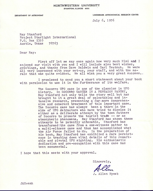 Ray Stanford letter